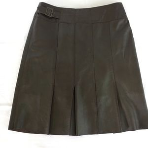 Cache Lamb Leather Pleated Mini Skirt Brown Size 2